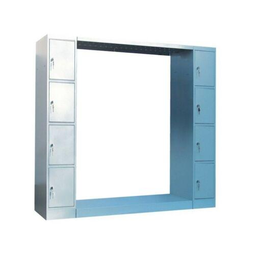 K. SZ. gardróbszekrény 8 ajtós értékmegőrző oszloppal, hátfal nélkül 1200 mm széles