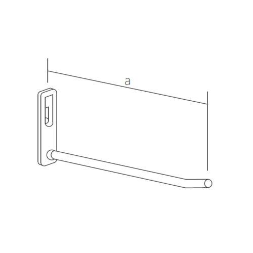 Krómozott fém akasztó perforált falhoz 200 mm, átmérő 7 mm