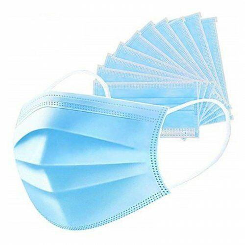 Élelmiszeripari Szájmaszk, nem szőtt textil, gumis háromrétegű, kék, 25g-os alapanyaggal (50db) - Szájmaszk