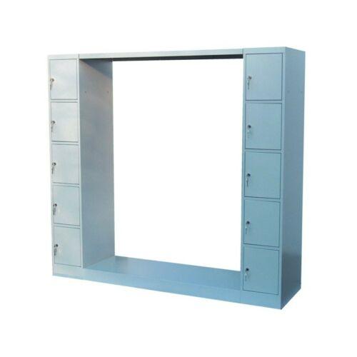 K. SZ. gardróbszekrény 10 ajtós értékmegőrző oszloppal, hátfal nélkül 1200 mm széles