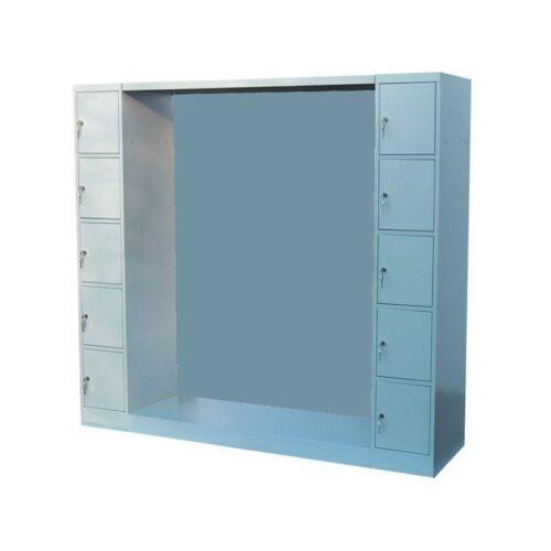 K. SZ. hátfalas gardróbszekrény 10 ajtós értékmegőrző oszloppal, 1200 mm széles