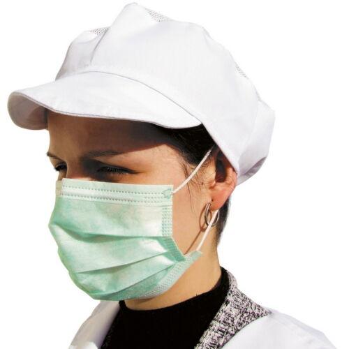 Élelmiszeripari EGYSZER HASZNÁLATOS Szájmaszk, nem szőtt textil (polipropilén), gumis háromrétegű, zöld (50db)