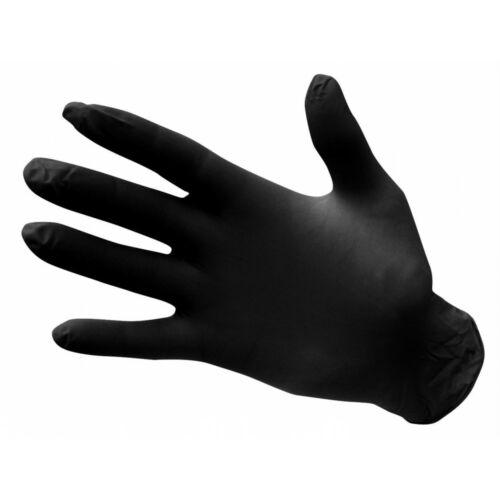 Élelmiszeripari nitril púdermentes fekete védőkesztyű, 3,5g-os